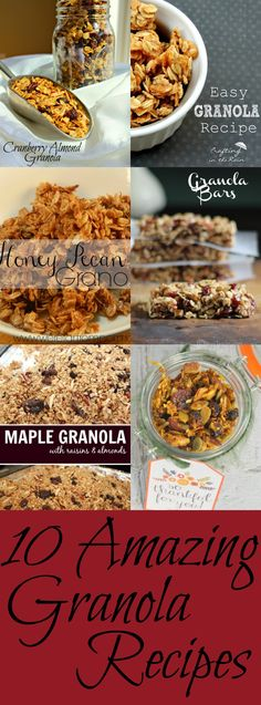 10 Amazing Granola Recipes - Full of great tasting and healthy granola snacks for anytime of the day and gluten free as well as a paleo recipe too!  gluten free granola recipes   granola recipes   granola recipe   healthy snacks   gluten free snacks 