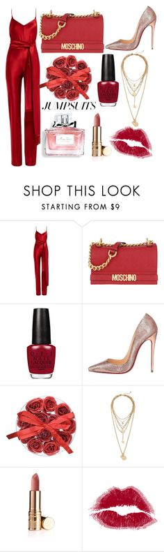 """sultry red"" by jeonayla on Polyvore featuring Galvan, Moschino, Christian Louboutin, Rebecca Minkoff, Christian Dior and jumpsuits"
