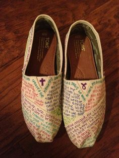 Toms with bible verses on them ;-) cute
