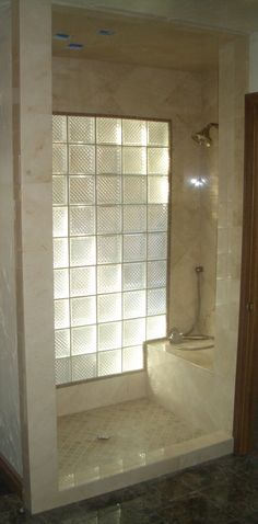 Glass blocks to let light into bathroom