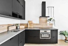 Modern kitchen with light gray laminate countertops black cabinets Laminate Countertops, Kitchen Countertops, Kitchen Cabinets, Modern Kitchen Design, Kitchen Designs, Grey Laminate, Black Cabinets, Gray, Home Decor