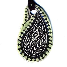 Paisley Ceramic Necklace in Green by surly on Etsy, $20.00