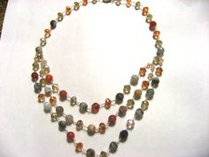 Real Agate, Camellion, and Czech Crystal in Sterling Silver Necklace : http://www.outbid.com/auctions/12272-mommy-s-time-out#6