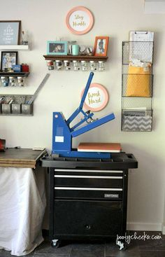 I have seen lots of storage ideas for vinyl but with a heat press and vinyl business I find this is the best solution for me. There are rolling cabinets in many styles and price points and I found four similar to mine for you to check out from the Poofy Cheeks blog. | DIY Vinyl and Heat Press Rolling Storage #crafter #craftsupplies #craftroom #craftroomstorage #craftsupplystorage