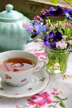 Tea time - aqua teapot, simple bouquet