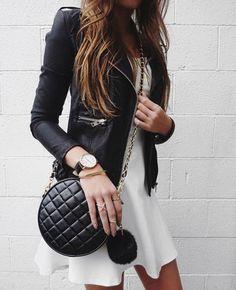 Pinterest @esib123  #style #fashion #inspo  leather jacket and white dress