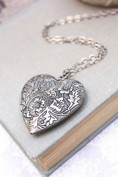 Large Heart Locket Necklace Silver Floral by apocketofposies