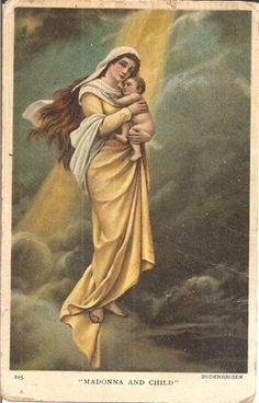 1908 Christmas Postcard of Madonna and Child-Bodenhausen-Art Series Religious
