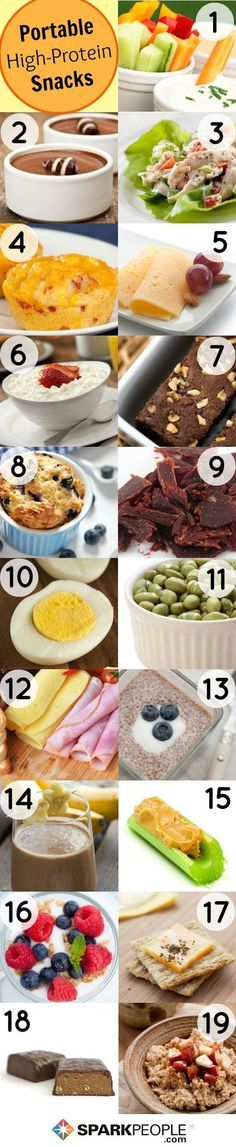 Protein Packed Snacks I like number 1 (mix plain greek yogurt w/ ranch mix as dip) 4: egg 'muffins' 8: blueberry microwave minute muffins 19: overnight steel cut oats w/ greek yog and fruit