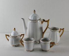 Vintage Porcelain Gilded Miniature Doll Toy Tea Set Pot Creamer Sugar Cups 7 Pc   eBay