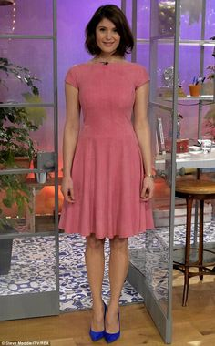 Pretty in pink: Made In Dagenham star Gemma Arterton looked gorgeous in a rose-coloured dress, which was offset by cobalt heels on Tuesday