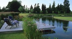 Luxury Gardening – An extensive garden for a luxury barn conversion, where inter-connected spaces unite the house and outbuildings with the big skies and glorious views of rural Hampshire. Natural Swimming Ponds, Natural Pond, Backyard Water Feature, Ponds Backyard, Pond Design, Garden Landscape Design, Design Design, Design Ideas, Pond Landscaping