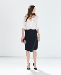 Image 1 of SKIRT WITH FAUX LEATHER APPLIQUE from Zara