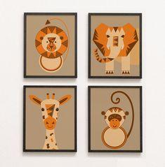 Jungle Pictures, Animal Pictures, Safari Animals, Baby Animals, Nursery Prints, Nursery Decor, Giraffe, Elephant, Orange Brown