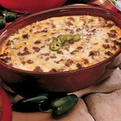 Chilies Rellenos Casserole- gonna have to make this, but I'll be the only one to eat it. Oh well!! YUM!!!