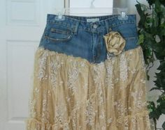 Florette is one of my Renaissance Deni, Couture jean skirts, the name I chose fo rmy line because I give vintage denim new life with French