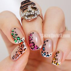 Neon leopard french tips and removal of gel polish! - SEIZETHENAIL