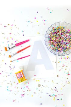 DIY Confetti Letter Art