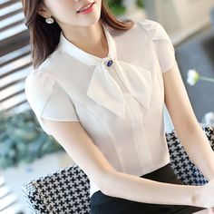 Lenshin Women Office Lady Petal Sleeve Blouse With Accessories Female Elegant White Shirt Tops Formal work wear Fashion Workwear Fashion, Fashion Outfits, Female Shorts, Stylish Blouse Design, Blouse Models, Ladies Dress Design, Ladies Style, Blouse Designs, Blouses For Women