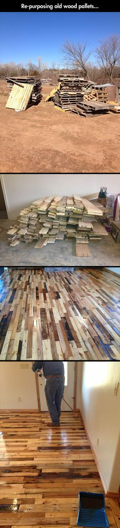 Reusing Old Woods Pallets     would this idea work when you start your living room shelves?  I think they work up into interesting colors that would blend with your flooring.