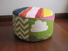 Colourful with green chevron Green Chevron, Bean Bag Chair, Ottoman, Upholstery, Black And White, Orange, Color, Home Decor, Art