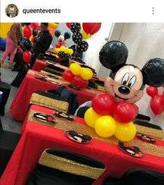 Mickey Mouse Birthday Party Table Setting and Decor