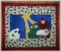NATIVITY Mini Quilt from Quilts by Elena Silhouette Applique Wall ... : nativity quilts - Adamdwight.com