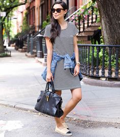 striped dress look street style