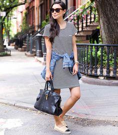 striped dress look street style