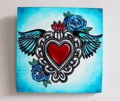 Sacred Heart Milagro with Wings Painting on Canvas by MadLoveShop
