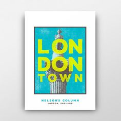 London Nelson's Column A4 Print (unframed): This vibrant and contemporary art print depicts the iconic Nelson's Column in Trafalgar Square, Central London. Reproduction of an original screen print