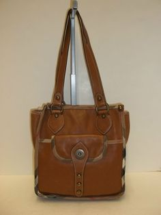 b964a5f1d32f BURBERRY Tan Leather w  Nova Check Trim Shoulder Handbag - CarolDiva  Authentic