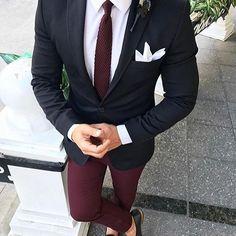 Black Suits with Burgundy Pants Classic Wedding Suits for Men Custom Groom Tuxedo Groomsmen Blazer Slim Fit Costume Homme Der Gentleman, Gentleman Style, Mens Fashion Suits, Mens Suits, Men's Fashion, Mens Casual Suits, Blazer Outfits Men, Designer Suits For Men, Look Man