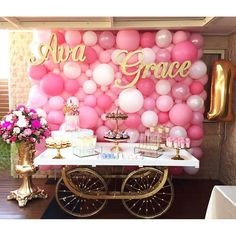 Pretty in Pink First Birthday Party! Now that's a dessert table! https://www.etsy.com/listing/265157225/baby-girl-clothes-baby-girl-gift-baby?ref=shop_home_active_28