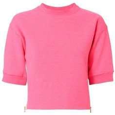 Harvey Faircloth Women's Zipper Detail Cropped Sweatshirt ($215) ❤ liked on Polyvore featuring tops, hoodies, sweatshirts, pink, fleece lined sweatshirt, pink pullover, crop top, neon pink top and pullover sweatshirt