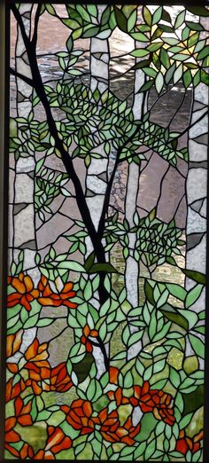 Tashiro Stained Glass  Wild birch tree and wild azalea