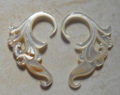 mother of pearl gauge earrings - Google Search