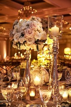 Classically romantic kansas city wedding tall wedding centerpieces an opulent spring wedding with timeless elegant dcor in chicago junglespirit Image collections