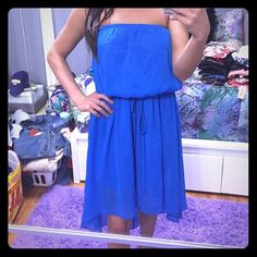 Blue High Low Dress With tie Dresses High Low