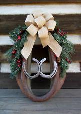 VTG Horse Mule Harness Collar Yoke Leather Horseshoes Christmas Wreath Country