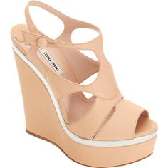 Miu Miu Peep Toe Platform Wedge Sandal at Barneys.com
