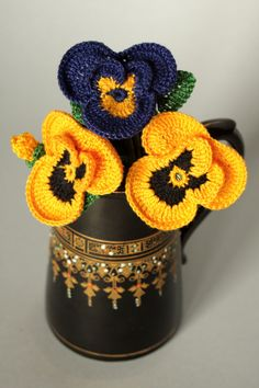 Crochet pansies flowers for any occasion. by DecorAnna on Etsy