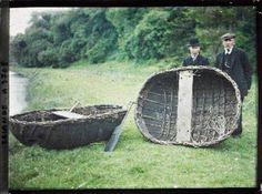 """The Boyne Coracle or 'Currach' was used from Neolithic times right up until the 1930's and was the oldest type of vessel to survive in Ireland. It was made from hazel rods and tanned cowhide. Legend says that St. Patrick rowed from Scotland to Ireland in a Boyne Currach The word """"coracle"""" comes from the Welsh cwrwgl, cognate with the Irish """"currach"""" The image is of two men making coracles, River Boyne, Oldbridge, Ireland, June 1913"""