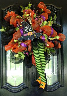 Deco Mesh Halloween Witch Door Wreath by JoyfullyYoursWreaths, Holidays Halloween, Halloween Outfits, Halloween Crafts, Happy Halloween, Halloween Decorations, Halloween Wreaths, Halloween Tips, Halloween Clothes, Halloween Witches