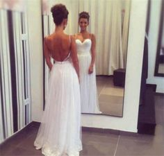 Pretty White Chiffon Straps Sweetheart Backless Prom Dresses 2016, White Prom Gowns, Evening Gowns, Wedding Party Dresses