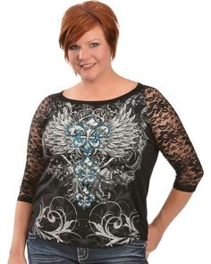 It's nice to see a western store with several plus size western outfits. Red Ranch Feather & Fleur-de-lis Print Lace Sleeve Top - Plus