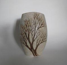 Vtg Andersen Design Studio Pottery Brown Tree Vase Maine Mid Century Modern