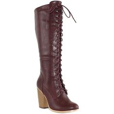 OLIVIA MILLER Burgundy Stanton Knee-High Boot ($40) ❤ liked on Polyvore featuring shoes, boots, mid-calf boots, burgundy knee high boots, knee boots, knee high laced boots, faux boots and knee high lace up heel boots