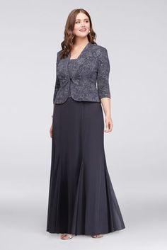 Plus Size Sleeve Long Jacquard Jacket Mother Bride/Groom Dress Style. Perfect for any special guest or Mother of the Bride, you will look and feel great in Formal Dresses With Sleeves, Plus Size Formal Dresses, Mob Dresses, Necklines For Dresses, Mother Of The Bride Gown, Mother Bride, Bride Groom Dress, Mode Hijab, Jacket Dress