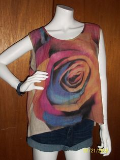 Caroline Rose Women's Size Medium M Linen Sleeveless Tank Blouse Abstract Floral #CarolineRose #Blouse